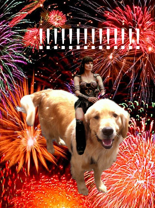 It's a poorly photoshopped picture of Xena, Warrior Princess, riding my dog Peppermint through the sky!!! FEEL MOTIVATED.